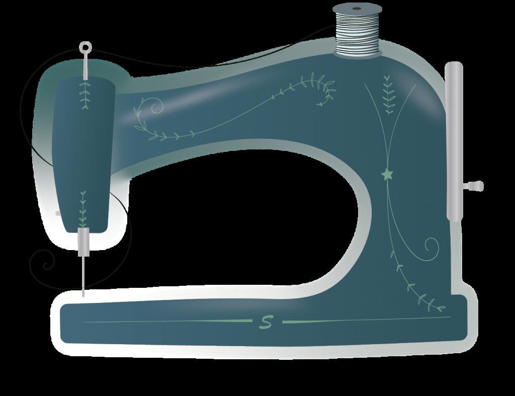 Illustratie naaimachine ontworpen in Adobe Illustrator