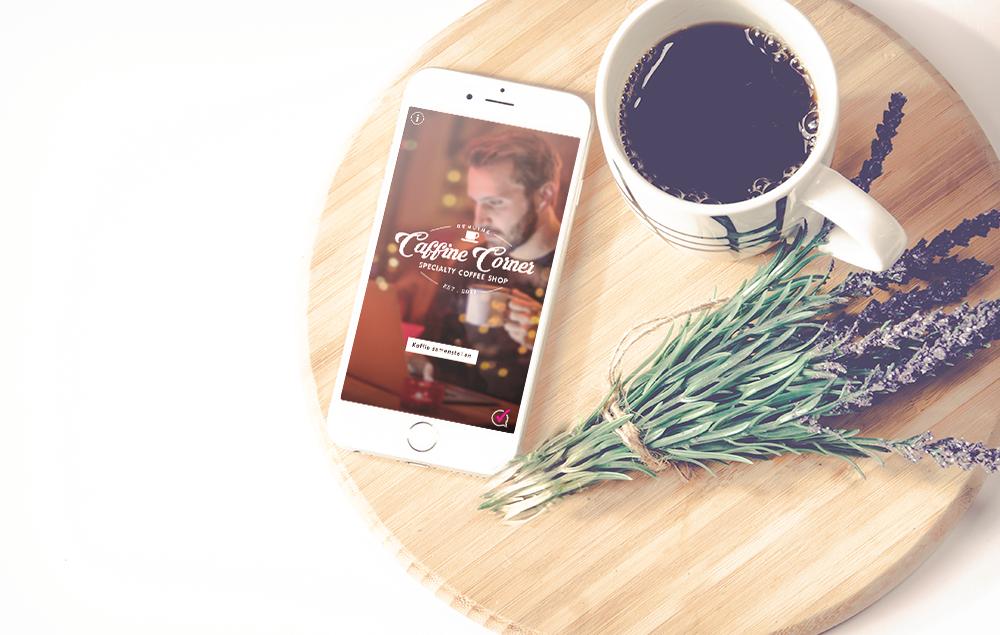 Iphone scherm voorbeeld koffie app