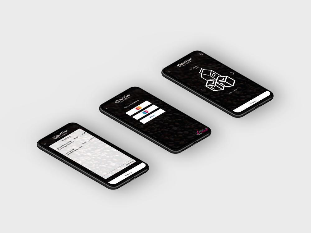 Iphone schermen voorbeelden koffie app