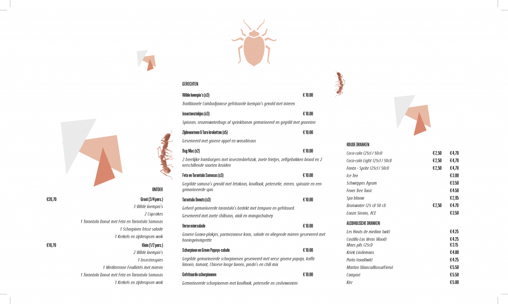 Menu insectenrestaurant: 3-luik met kapvorm